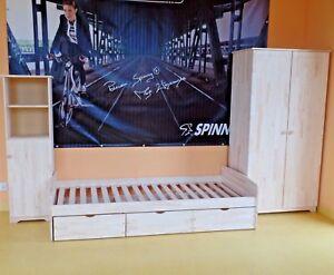 Jugendzimmer Kinderzimmer Komplett Set Jugendbett Schrank Regal Massivholz Grav