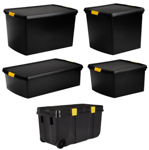 Large Plastic Storage Box with Lid Home Under Bed Office Stackable Container
