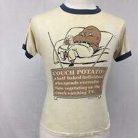 VTG 1987 Couch Potato TV Vegetable Mens Ringer Tee T Shirt sz S M 80s