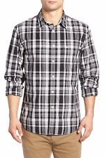 Dockers Men's Fitted Washed Print Woven Slim Fit Shirt Black Plaid Size Small