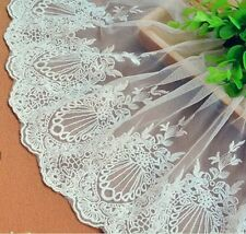 1 Yards Embroidered Tulle Lace Trim Edge Mesh Bridal Dress Sewing Craft Decor