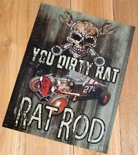 Hot Rat Rodster Street Rod Roadster Classic Custom Car Skull Wrench Metal Sign