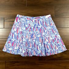 Lilly Pulitzer Women's Size 10 Blue Pink Sail Boat Print Ava Fit & Flare Skirt