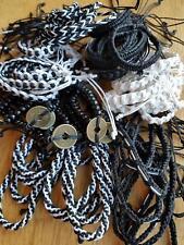 P34 set 60 black white boho surf,cotton friendship adjustable bracelets
