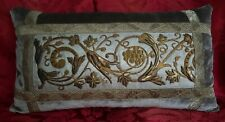 Hand Made Silver/Grey Velvet Pillow w/Vintage Gold Metal Work Embroidery