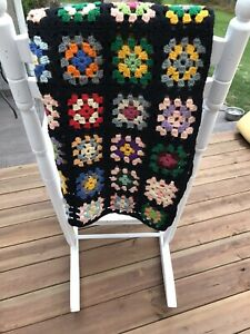 "VINTAGE Afghan Crochet Granny Square Blanket Handmade Throw Quilt 27"" x 60"" EUC"