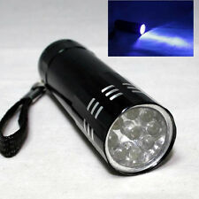 Blacklight Detection 9 LED UV Ultra Violet Mini Flashlight Torch Light Lamp Gift