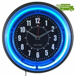 Neon Wall Clock Battery Operated Electric Vibrant Blue Light Analog Quartz Watch