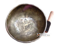 "8.5"" Third Eye A note Buddha Carving Tibetan Singing bowl Set-7 Metal"