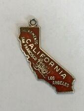 shield charm Travel sterling vintage Beau California map enamel