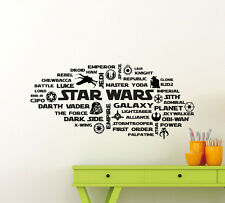 Star Wars Wall Decal X-Wing Yoda Vader Quote Vinyl Sticker Art Decor Mural 30sw