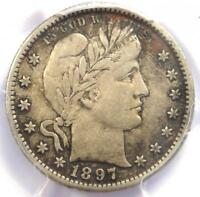 1897-S Barber Quarter 25C Coin - Certified PCGS XF Details (EF) - Rare Date!