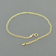 """10K YELLOW GOLD 2.1mm FANCY FIGARO LINK 9"""" ANKLET FREE SHIPPING GIFT BOX"""