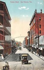 c.1910 Stores Early Car Trolley Huston St. San Antonio TX post card