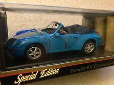 Maisto 1:18 Porshe 911 Carrera Cabriolet Blue Die Cast Model Car 1994