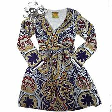 Johnny Was 100% Silk Dress Long Sleeve Floral Wrap Boho Fully Lined Pockets XS