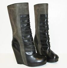 RICK OWENS Green Brown Ribbed Leather Ruhlmann Wedge Mid Calf Boots 38.5 NEW
