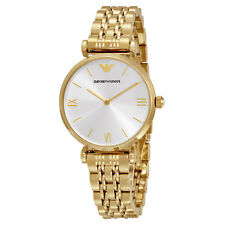 ARMANI WOMENS GIANNI T-BAR WATCH AR1877 SILVER DIAL GOLD STRAP, COA, RRP £299.00