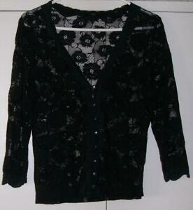 Vintage BLACK Stretch LACE 3/4 sleeve BUTTON up TOP sz S/M Goth Punk Gothic EMO