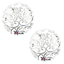 Silver Scroll Foil Balloon Wedding Anniversary Birthday Party Supplies~ Set of 2