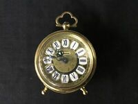 Antique.Small Working Blessing Table Alarm Clock. with Metal Filigree Design#604