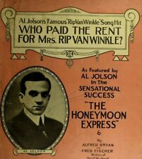 1914 Who Paid The Rent For Mrs. Rip Van Winkle Al Jolson Vintage Sheet Music M22