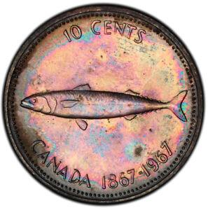 MS64 1967 10C Canada Silver Mackerel Dime, PCGS Secure- Rainbow Toned