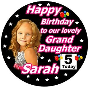 PERSONALISED GRANDDAUGHTER / HAPPY BIRTHDAY BADGE / WITH PHOTO / NEW / GIFTS