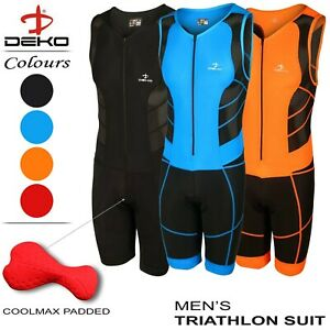 DEKO Mens Triathlon Tri Suit Padded Compression Running Cycling Swimming Trisuit