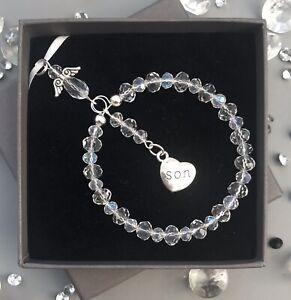 Crystal Guardian Angel Son Xmas Decoration Ornament Bauble Gift Box & Card