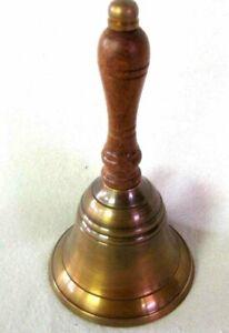 Counter/Stammtisch/Hotelglocke- Antique Brass, Brüniert- Tarnishing With Wood