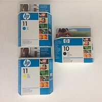 HP Lot 3 Ink Cartridges #10 Black #11 Cyan #11 Yellow Expired 2008-2010 Unopened