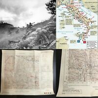 WWII Rare George Patton Seventh Army Infantry Paluzza Italy Combat Map WW2 Relic