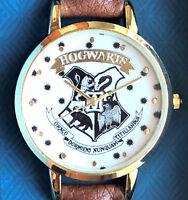 Original Harry Potter Damen Uhr Hogwarts Wappen Armbanduhr Braun Geschenkset Neu