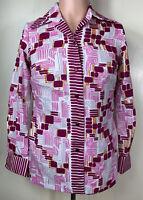 Vintage 70's Mod Funky Disco Geometric Alex Colman Womens Shirt Small Pink