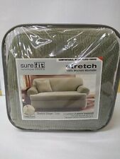 Surefit Sofa Fit Furniture Covers 2 PIECE Stretch Sage Green - Madison Stripe.