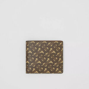 Authentic Burberry Monogram Print E-canvas International Bifold Coin Wallet
