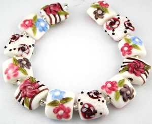 12 Lampwork Glass Beads Handmade White Pillow Flower Loose Craft Jewelry Spacer