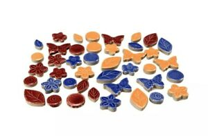 Butterfly Ceramic Porcelain Mosaic Tiles For DIY Hobbies Crafting 50Pcs/200g