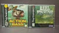 Action Bass + Reel Fishing Playstation 1 2 PS1 PS2 Fish Game Lot Complete Tested