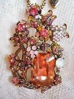 BETSEY JOHNSON BEAUTIFUL CRYSTAL MULTICOLOR FLOWER GARDEN  PENDANT NECKLACE