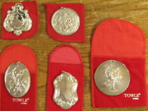 TOWLE STERLING CHRISTMAS ORNAMENTS (5) TOTAL WITH BAGS FREE SHIPPING