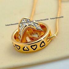 Offerte Venerdì nero-oro Cuore Anello Cristallo Collana di diamanti Natale Regali Per Lei