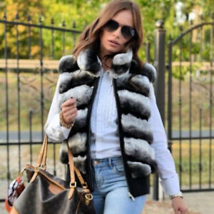 Chinchilla Colored Fur Jacket Women Real Rex Rabbit Fur Vest Coat Autumn Winter