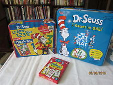 lot of Dr Seuss 3 Games in One Tin Cat in Hat Abc One Fish Two Fish ,flash cards