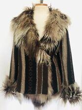 "Guatemalan Style Sweater Jacket With Faux Fur Multi Tone Browns ""Peruvien"" Peru"