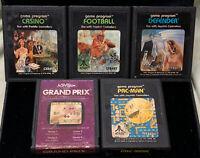 Lot Of 5 Atari 2600 Video Game Carts Casino Football Defender Grand Prix Pac-Man