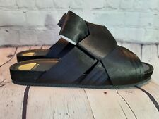 3be9acd1e310c2 Eloquii Black Satin Woven Flats Slides Dressy Sandals New in Box Size 10 W