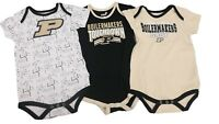 Purdue Boilermakers NCAA Official Baby Infant Size 3 Piece Creeper Bodysuit Set