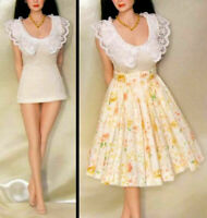 "1/6 Scale Lace T-Shirt Flower Dress Uniforms Set Fit 12"" Female Figure Body"